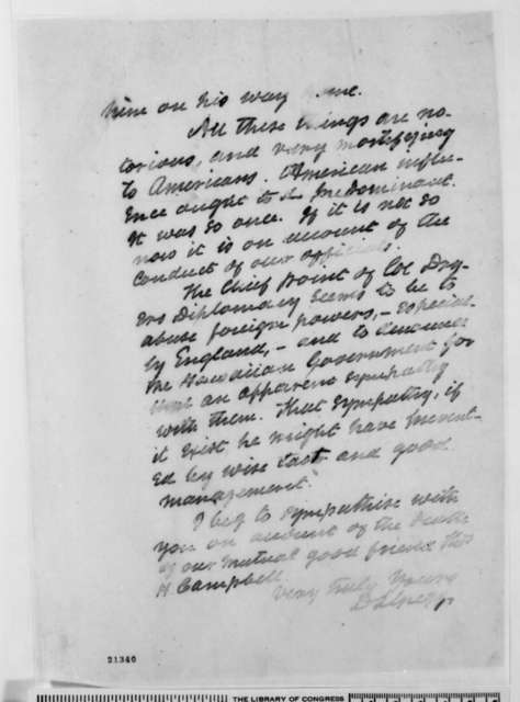David L. Gregg to James A. McDougall, Saturday, January 24, 1863  (Thomas J. Dryer's incompetence as commissioner to Hawaii)