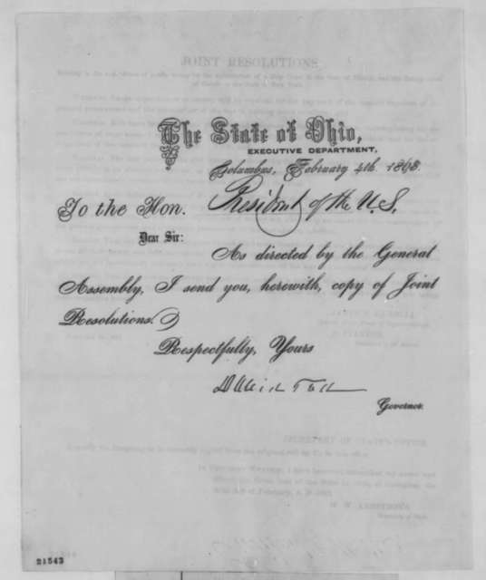 David Tod to Abraham Lincoln, Wednesday, February 04, 1863  (Sends resolutions)