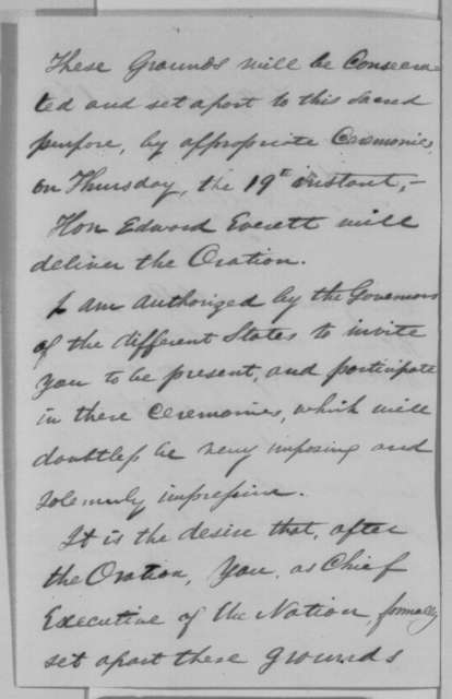 "David Wills to Abraham Lincoln, Monday, November 02, 1863  (Invitation to attend the dedication of the cemetery at Gettysburg and make a ""few appropriate remarks"")"