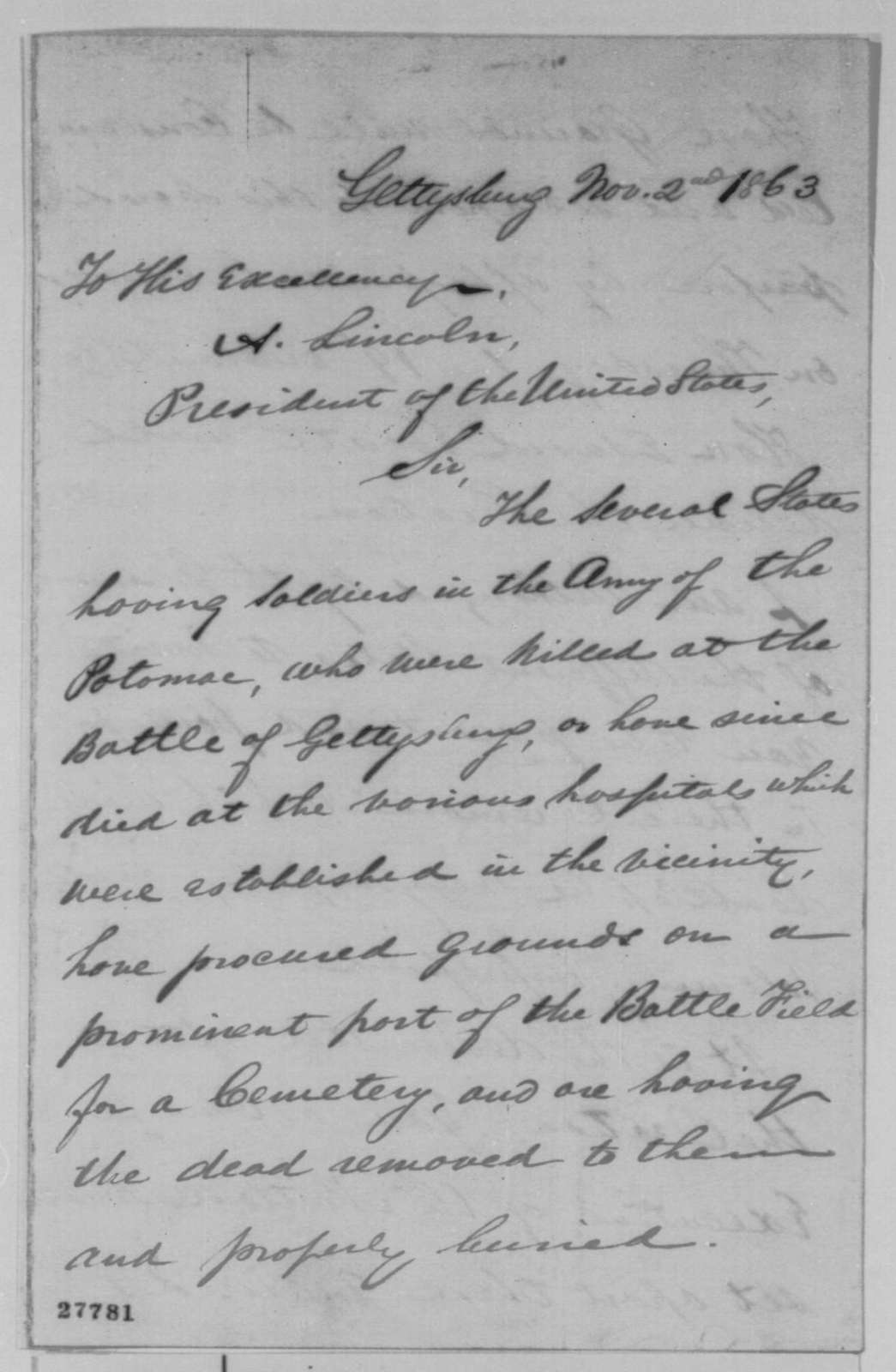"""David Wills to Abraham Lincoln, Monday, November 02, 1863  (Invitation to attend the dedication of the cemetery at Gettysburg and make a """"few appropriate remarks"""")"""