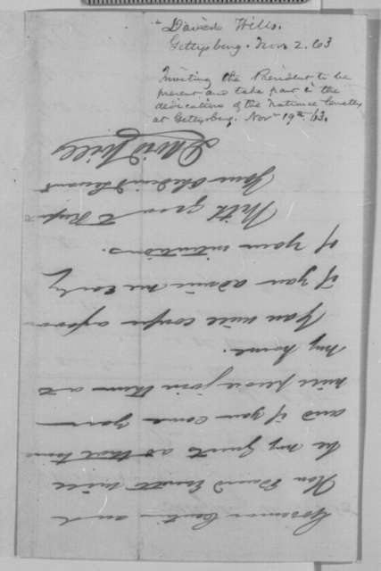 David Wills to Abraham Lincoln, Monday, November 02, 1863  (Invites Lincoln to stay at his home during the visit to Gettysburg)
