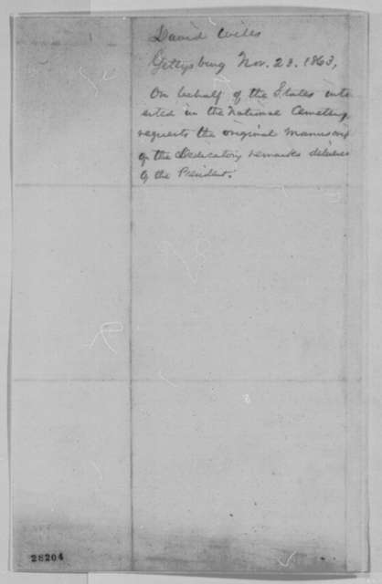 David Wills to Abraham Lincoln, Monday, November 23, 1863  (Request for copy of Gettysburg Address)