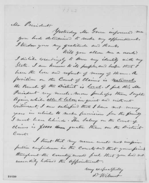 David Wilmot to Abraham Lincoln, [January 1863]  (Appointment to Court of Claims)