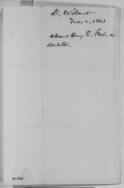 David Wilmot to Abraham Lincoln, Monday, November 02, 1863  (Introduces Henry Fox)
