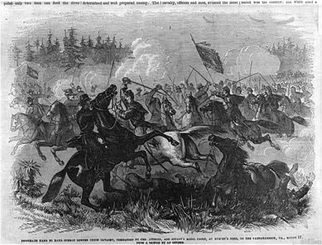 Desperate hand to hand combat between Union Cavalry, commanded by Gen. Averill [i.e. Averell] and Stuart's Rebel Troop, at Killey's Ford [i.e. Kelly's Ford], on the Rappahannock, Va., March 17 [1863]