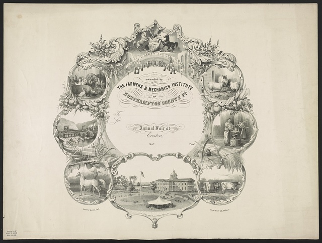 Diploma awarded by Farmers & Mechanics Institute of Northampton County Pa. / James Queen, del. ; from a photograph by Ruben Knecht, Easton, Pa. ; Duval & Co's. Lith. Philada.
