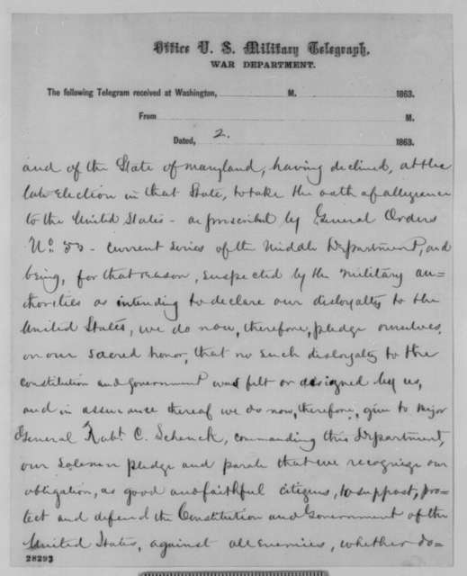 Donn Piatt to Abraham Lincoln, Friday, November 27, 1863  (Telegram concerning arrests during Maryland elections)