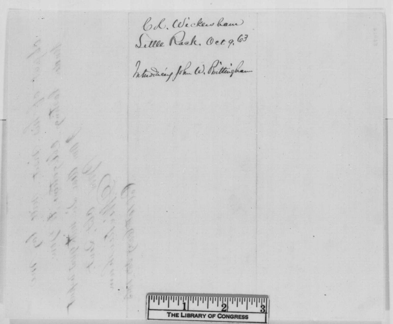 Dudley Wickersham to Abraham Lincoln, Friday, October 09, 1863  (Introduces John W. Brittingham)