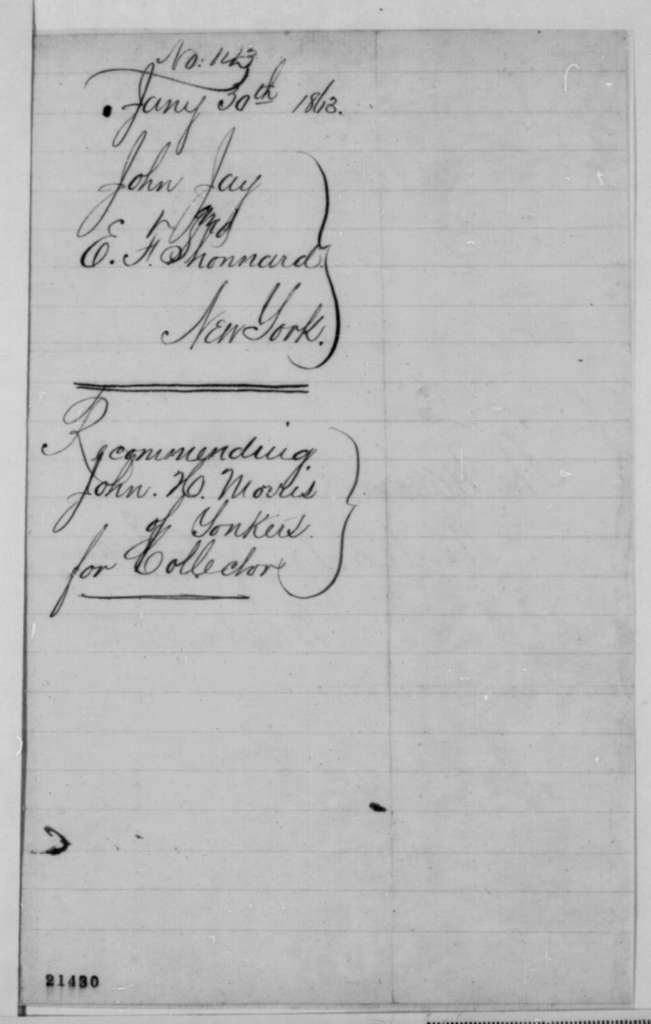 E. F. Shonnard and John Jay to Salmon P. Chase, Friday, January 30, 1863  (Recommend John H. Morris for collector of 10th district)