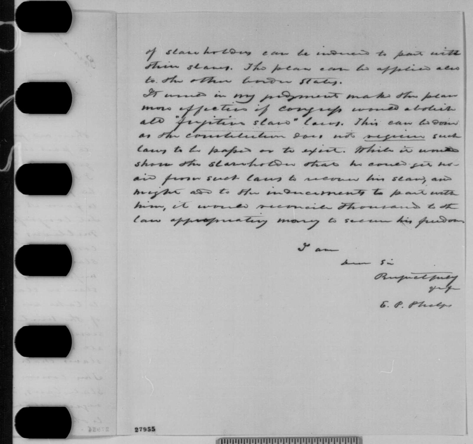E. P. Phelps to Abraham Lincoln, Tuesday, November 10, 1863  (Plan for emancipation in Maryland)