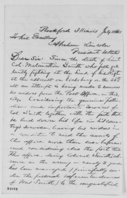 E. W. Blaisdell Jr. to Abraham Lincoln, Saturday, July 18, 1863  (Removal of Mrs. Melancthon Smith from the post office)