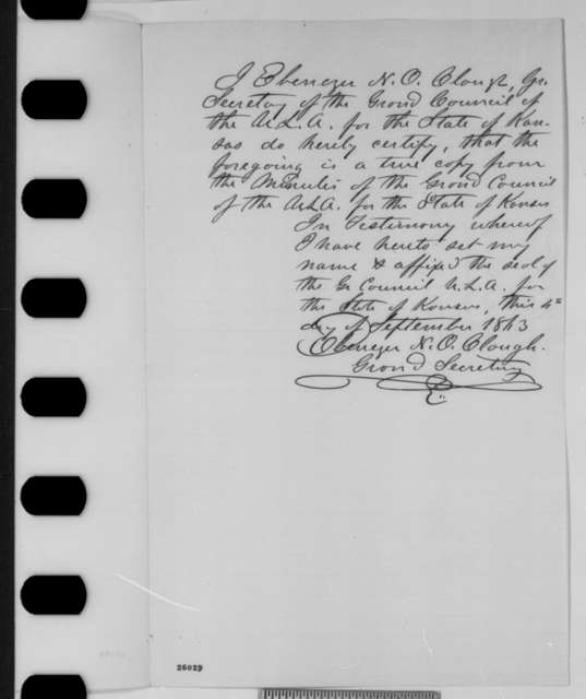 Ebenezer N. O. Clough, Thursday, September 03, 1863  (Resolutions of Union League of Kansas recommending removal of Generals Schofield and Ewing)