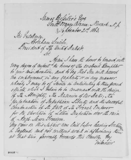 Edward B. Eaton to Abraham Lincoln, Monday, September 21, 1863  (Sends pamphlet)