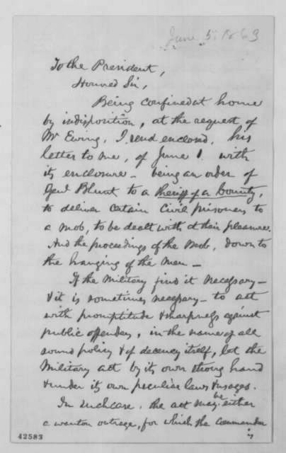 Edward Bates to Abraham Lincoln, Friday, June 05, 1863  (Actions of General Blunt)