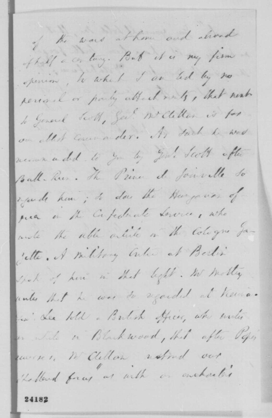 Edward Everett to Abraham Lincoln, Tuesday, June 16, 1863  (Praise for Lincoln's letter to Erastus Corning and recommendation that McClellan be restored to command)