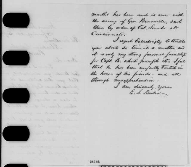 Edward L. Baker to Abraham Lincoln, Wednesday, September 30, 1863  (William H. Bailhache)
