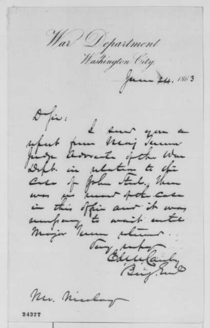 Edward R. S. Canby to John G. Nicolay, Wednesday, June 24, 1863  (Cover letter)
