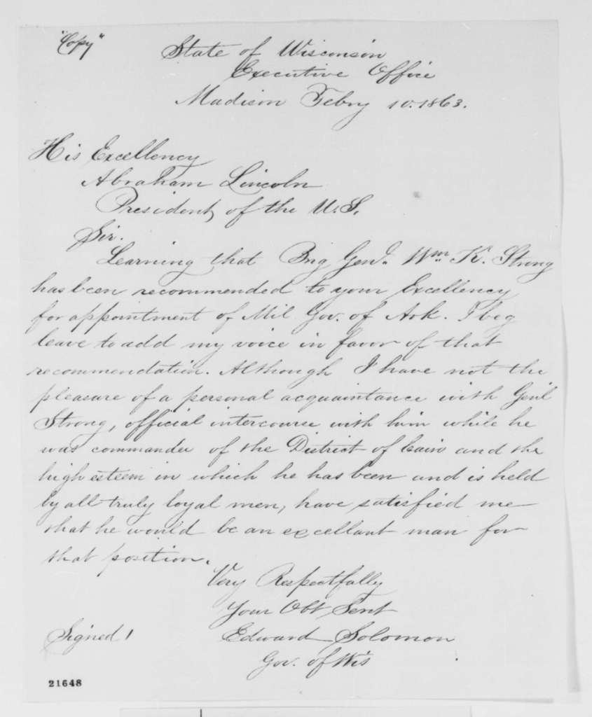 Edward Salomon to Abraham Lincoln, Tuesday, February 10, 1863  (Recommends William K. Strong for military governor of Arkansas)
