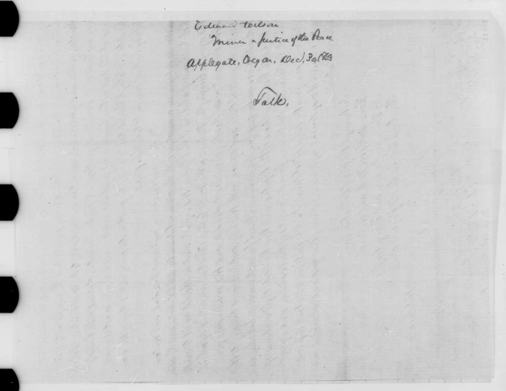 Edward Wilson to Abraham Lincoln, Wednesday, December 30, 1863  (Political and military affairs)