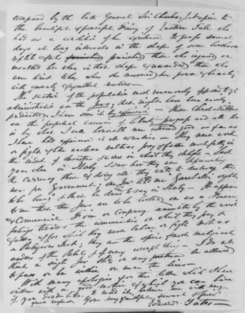 Edward Yates to Abraham Lincoln, Monday, February 16, 1863  (Meeting with Horace Greeley and military affairs)