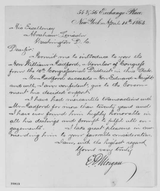 Edwin D. Morgan to Abraham Lincoln, Saturday, April 04, 1863  (Introduces William Radford)