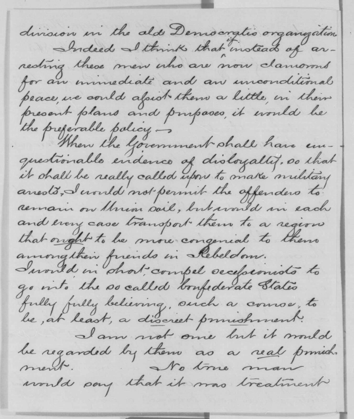 Edwin D. Morgan to Abraham Lincoln, Saturday, May 09, 1863  (Military arrests)