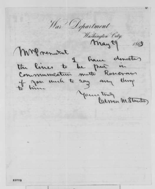 Edwin M. Stanton to Abraham Lincoln, Friday, May 29, 1863  (Communication with General Rosecrans)