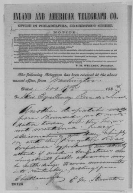 Edwin M. Stanton to Abraham Lincoln, Thursday, November 19, 1863  (Telegram concerning military affairs)