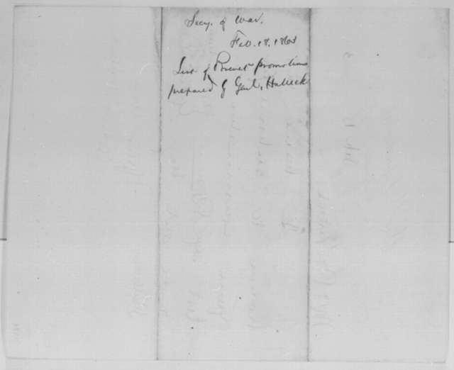 Edwin M. Stanton to Abraham Lincoln, Wednesday, February 18, 1863  (Sends list of promotions)