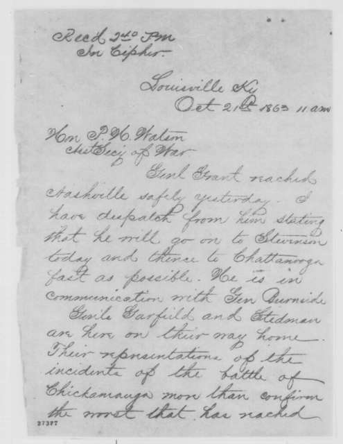 Edwin M. Stanton to Peter H. Watson, Wednesday, October 21, 1863  (Telegram reporting military situation in the West)