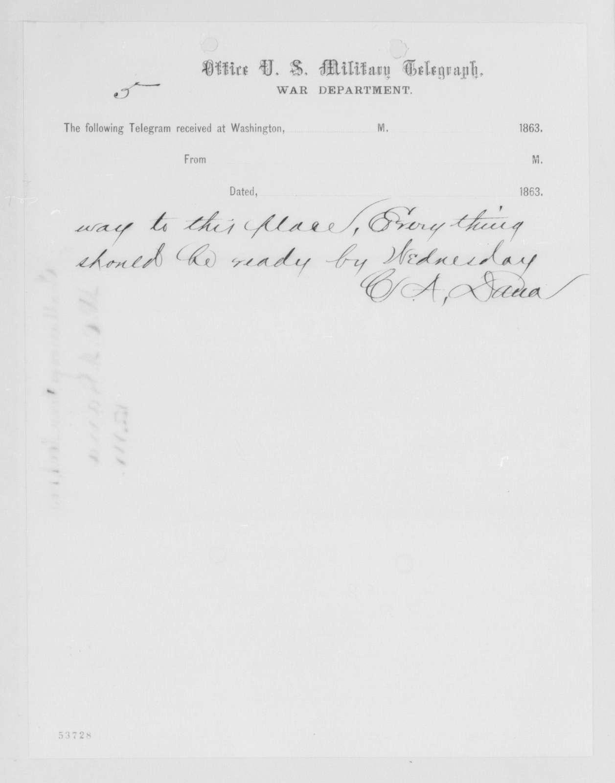 Edwin McMasters Stanton Papers: Correspondence, 1831-1870; 1863; 1863, Oct. 31-Nov. 27
