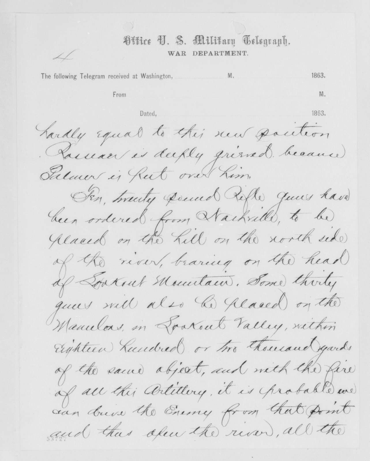 Edwin McMasters Stanton Papers: Correspondence, 1831-1870; 1863; 1863, Oct. 31-Nov. 27