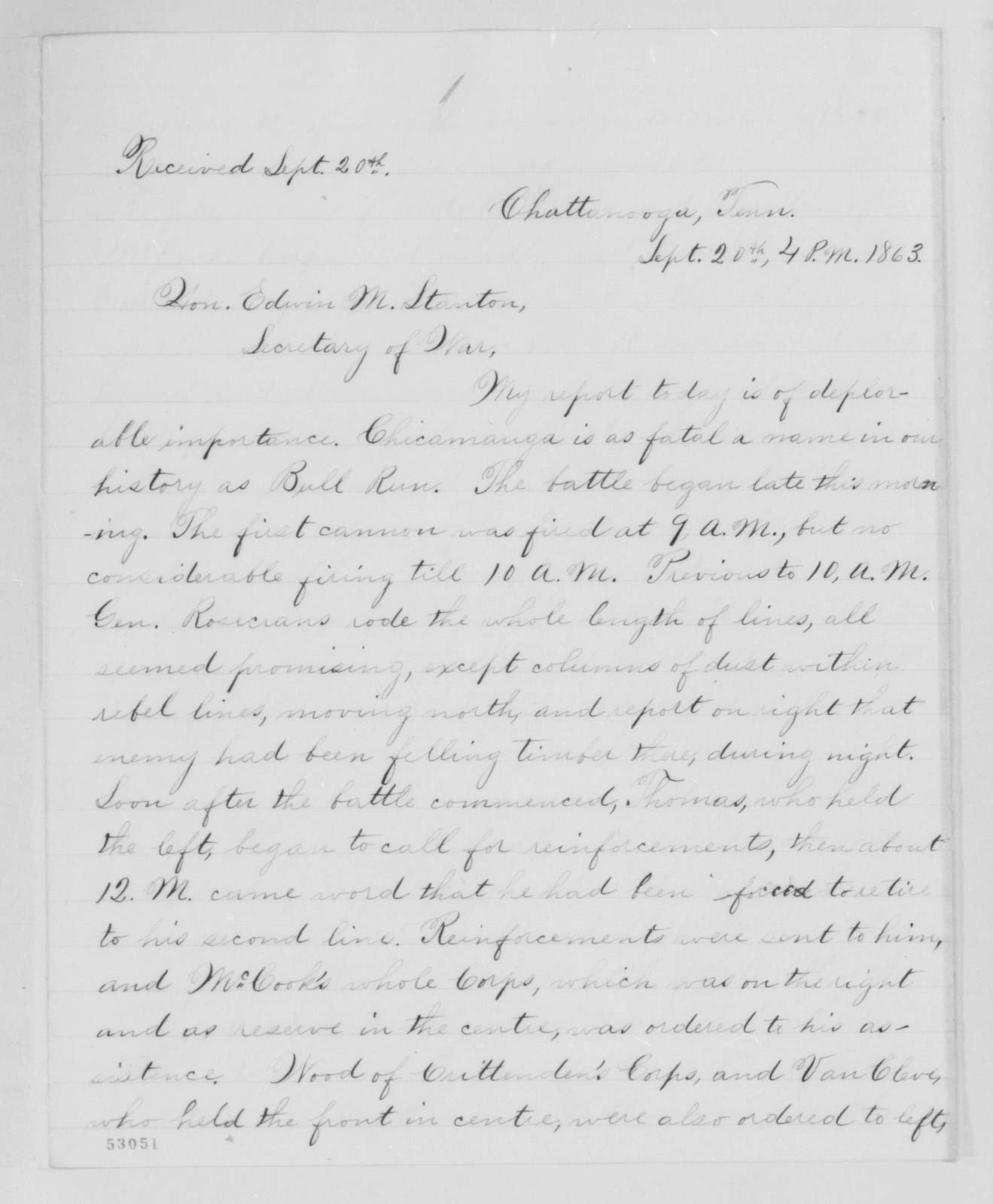 Edwin McMasters Stanton Papers: Correspondence, 1831-1870; 1863; 1863, Sept. 20-25