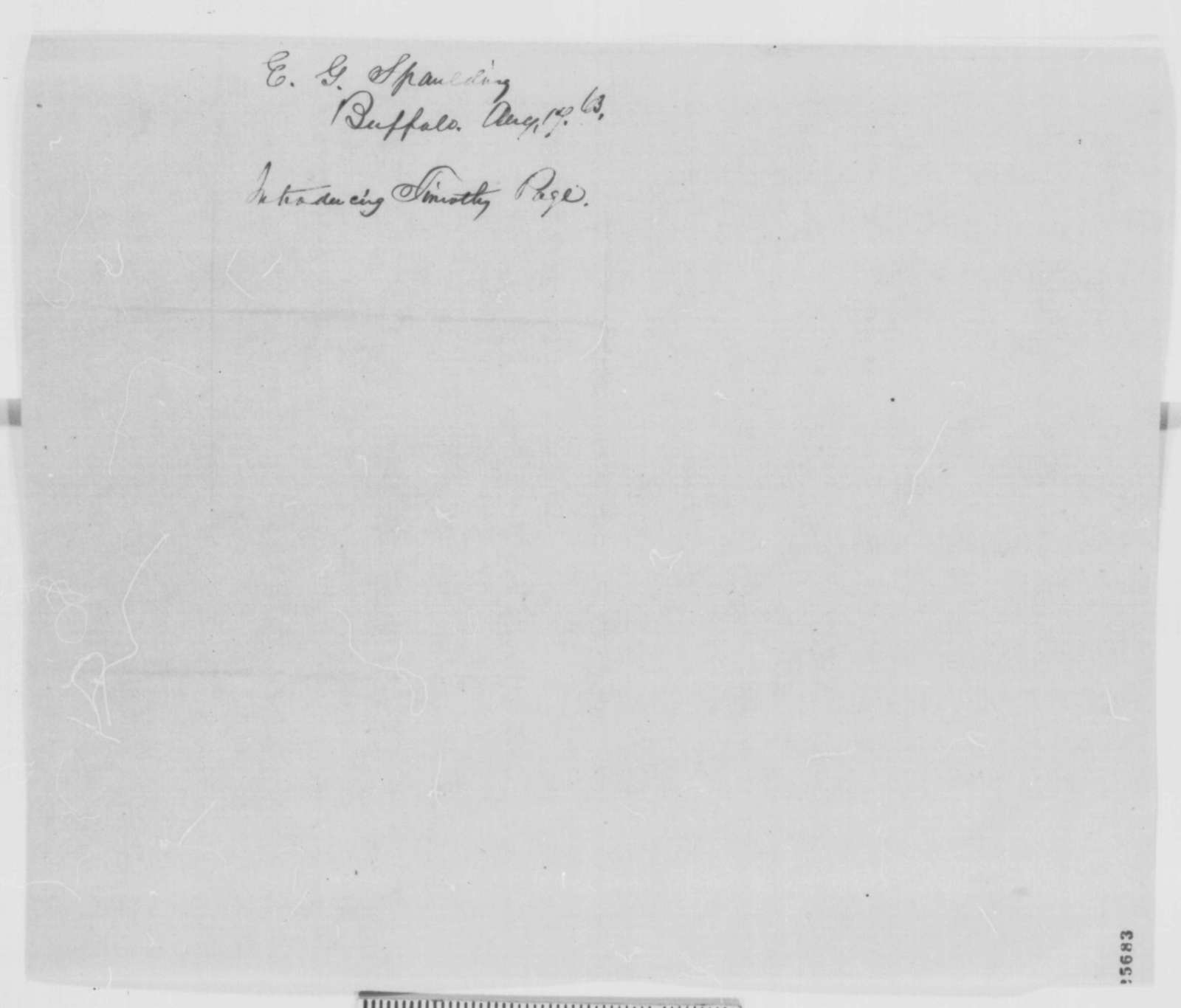 Elbridge G. Spaudling to Abraham Lincoln, Monday, August 17, 1863  (Introduces Timothy Paige)