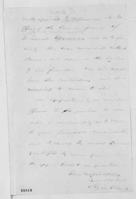 Elijah Ward to Abraham Lincoln, Monday, March 09, 1863  (Recommends Abraham Hyatt)