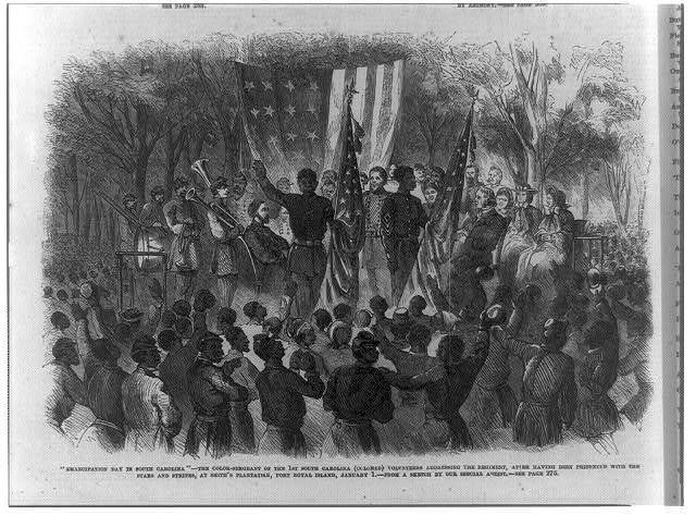 """Emancipation Day in South Carolina"" - the Color-Sergeant of the   1st South Carolina (Colored) addressing the regiment, after having been presented with the Stars and Stripes, at Smith's plantation, Port Royal, January 1"