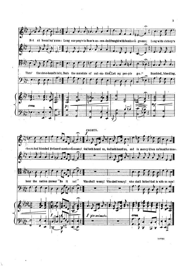 Emancipation hymn: quartette & chorus composed and dedicated by permission to the Salem Union League by Manuel Fenollosa, Salem, Mass., June 1863; [words by R T. L.]