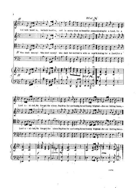 Emancipation hymn: quartette & chorus composed and dedicated by permission to the Salem Union League by Manuel Fenollosa, Salem, Mass., June 1863; [words by R T. L.]