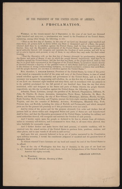 Emancipation proclamation, [folded broadside].