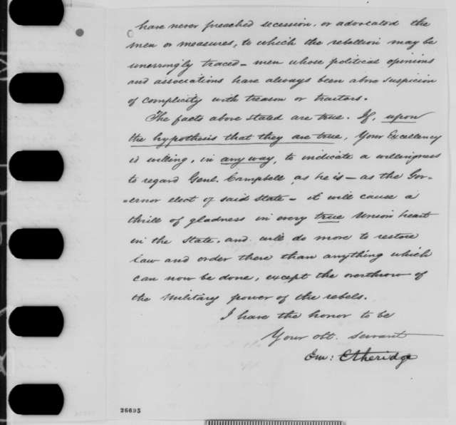 Emerson Etheridge to Abraham Lincoln, Monday, September 28, 1863  (Tennessee politics; endorsed by Edward Bates)