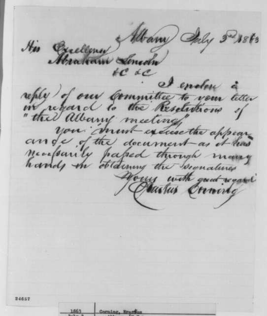 Erastus Corning to Abraham Lincoln, Friday, July 03, 1863  (Sends response to Lincoln's letter of June 12)