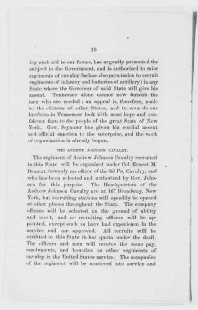 Ernest M. Bement, June 1863  (Pamphlet)