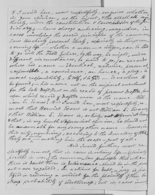 Estwick Evans to Abraham Lincoln, 1863-1865  (Confusion between William E. Evans and Warwick Evans)