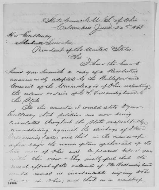 E.W. Brownell to Abraham Lincoln, Wednesday, June 24, 1863  (Sends resolutions of Bellefontaine, Ohio Union League)