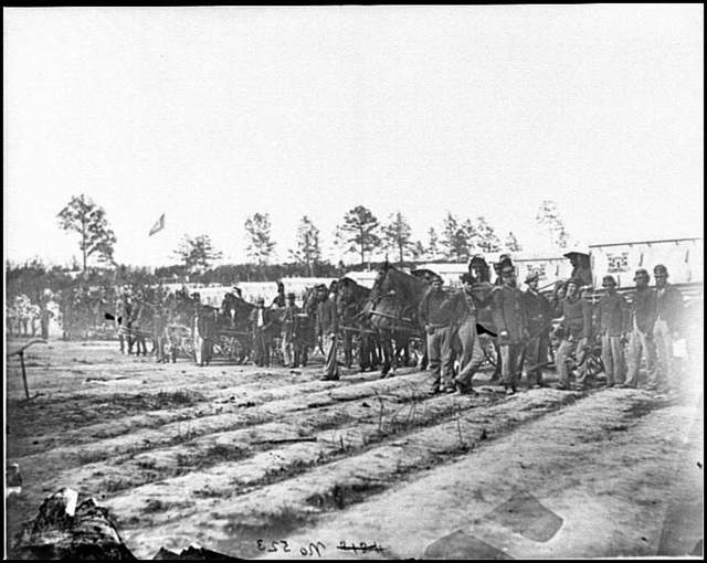 [Falmouth, Va. Men and wagons of the Engineer Corps ambulance train; another view]