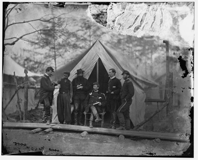 Falmouth, Virginia. Lt. Col. [Jos] Dickinson and group of officers. Headquarters, Army of the Potomac