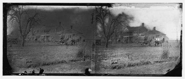 Falmouth, Virginia (vicinity). Major Lacy's house opposite Fredericksburg. View from the south