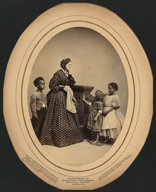 Fannie Virginia Casseopia Lawrence, a redeemed slave child, five years of age as she appeared when found in slavery. Redeemed in Virginia by Catharine [i.e., Catherine] S. Lawrence; baptized in Brooklyn, at Plymouth Church by Henry Ward Beecher, May 1863 / photographed by Kellogg Brothers, 279 Main Street, Hartford Conn.
