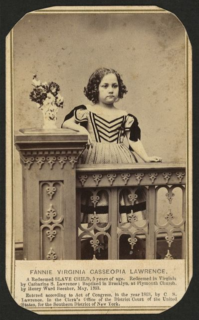 Fannie Virginia Casseopia Lawrence, a redeemed slave child... / Kellogg Brothers, photographers, 279 Main St., Hartford, Conn.
