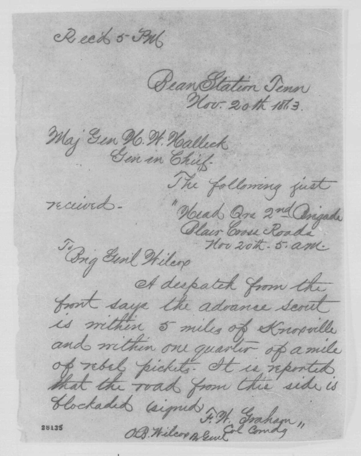 Felix W. Graham and Orlando B. Willcox to Henry W. Halleck, Friday, November 20, 1863  (Telegram concerning military affairs in Tennessee)